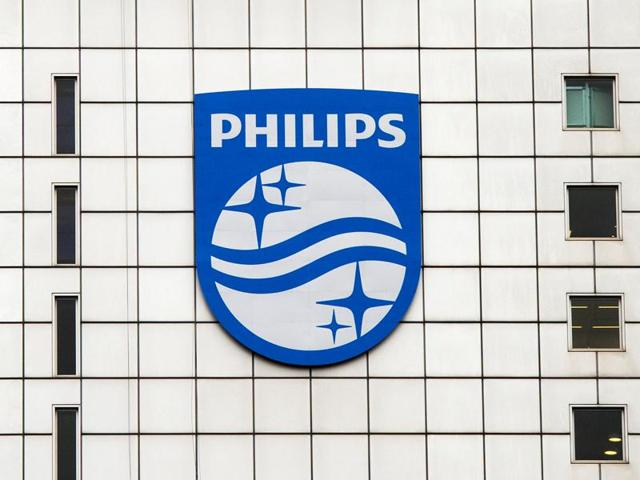 A Philips logo is seen at Philips headquarters in Amsterdam January 28, 2014.  Philips dropped the word 'electronics' from its name in 2013.