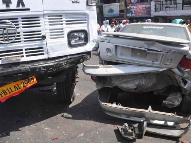 A car hit by the truck in Patiala on Monday.