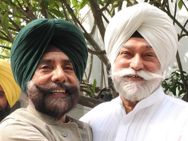 Expelled Congress leaders Jagmeet Singh Brar and Bir Devinder Singh meeting in Patiala on Tuesday.