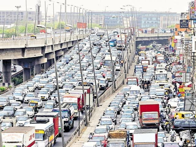 Protest by diesel taxi drivers blocked traffic on the Delhi-Gurgaon Expressway for the second day on Tuesday.
