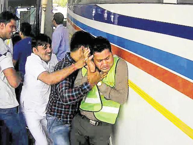 A group of villagers attacked the Kherki Daula toll plaza staff on Tuesday.