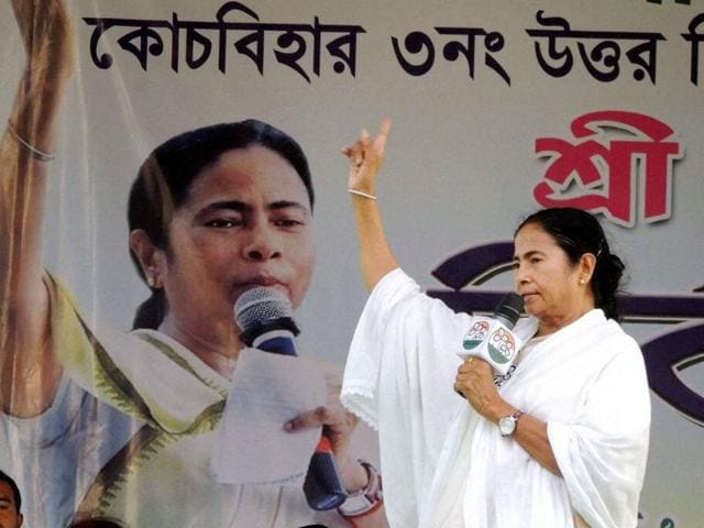 West Bengal chief minister and Trinamool Congress chief Mamata Banerjee during an election rally in Coochbehar district.