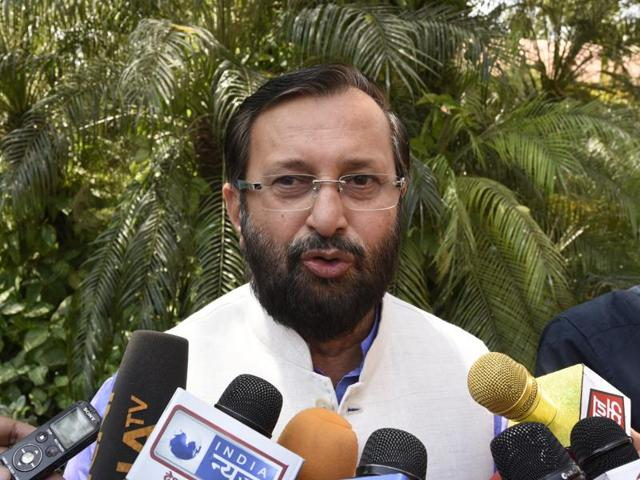 New Delhi, India- May 2, 2016: Union Minister of State Information and Broadcasting (Independent Charge) / Environment, Forest and Climate Change (Independent Charge) / Parliamentary Affairs Prakash Javadekar arrive for the attending Parliament Session in new Delhi, India, on Monday, May 02, 2016. ( Photo by Sonu Mehta/ Hindustan Times)