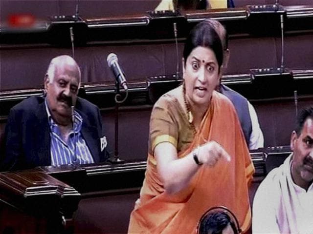 In this file photo, HRD minister Smriti Irani is seen speaking in the Rajya Sabha.