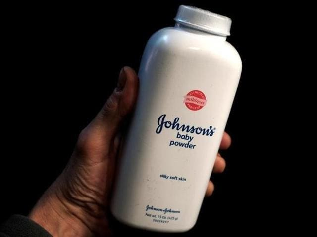 A bottle of Johnson and Johnson powder is seen in a photo illustration taken in New York.