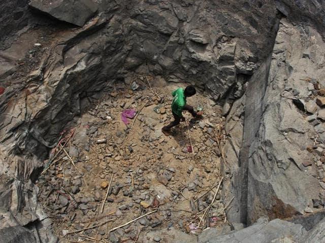 A dried well at Sidhha wadi village in Shahapur taluka, Thane.