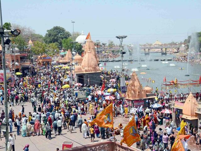 Ram Ghat of river Kshipra was crowded on first parv snan of Simhastha fair on Tuesday.