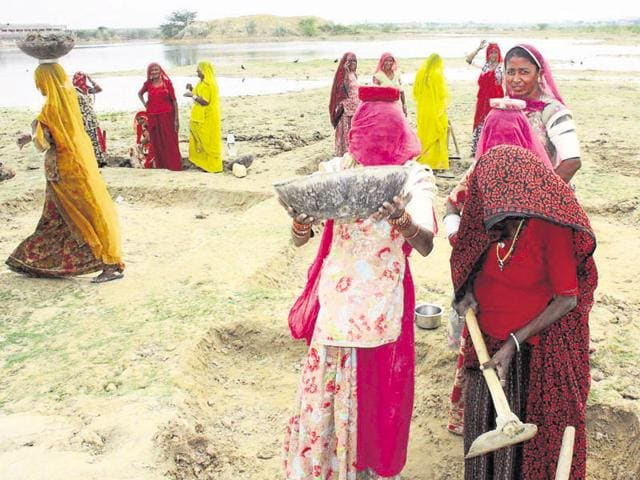 Women work at a MNREGS site in Rajasthan.