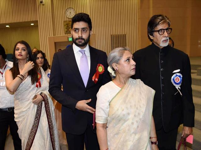 Winner of Best Actor award Amitabh Bachchan arrives with the family members Jaya Bachchan, Aishwarya Rai Bachchan and Abhishek Bachchan at the 63rd National Film Awards 2015 function in New Delhi on Tuesday.