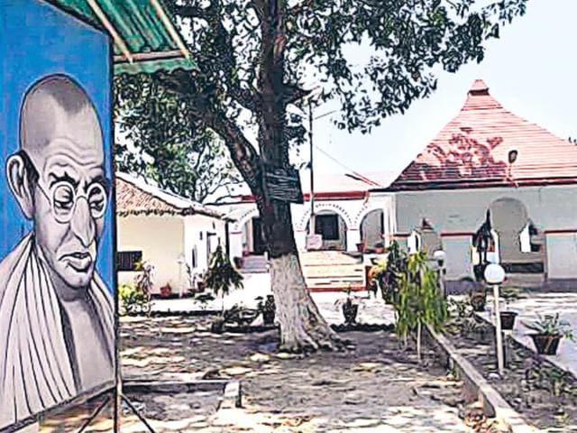 Bhitiharwa Gandhi Ashram, founded by Gandhi in November 1917, near Narkatiaganj.