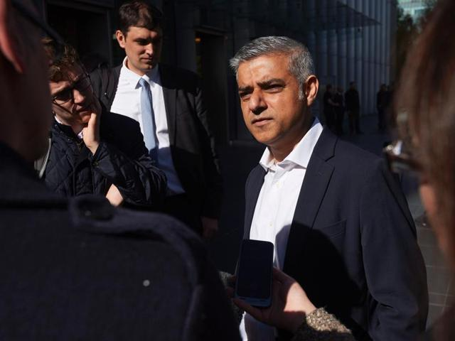 Britain's Labour party candidate for London Mayor Sadiq Khan speaks to the media on the eve of the London mayoral elections.