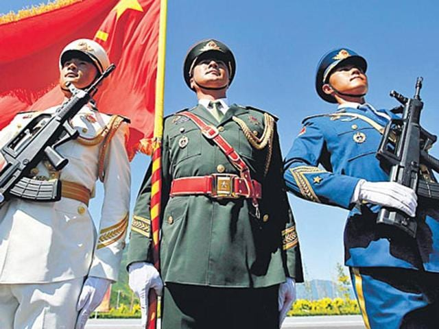 Soldiers of People's Liberation Army during a training session for the Sept 3 military parade in Beijing, China.
