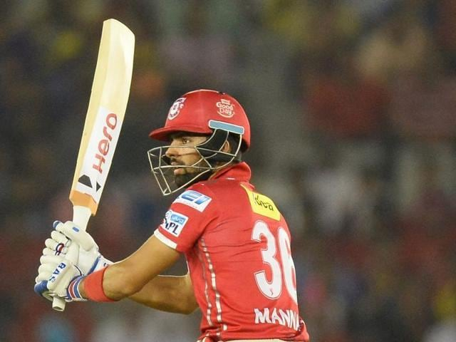 Kings XI Punjab batsman Manan Vohra plays a shot during the 2016 Indian Premier League (IPL) Twenty20 cricket match between Kolkata Knight Riders and Kings XI Punjab at The Punjab Cricket Association Stadium in Mohali on April 19, 2016.