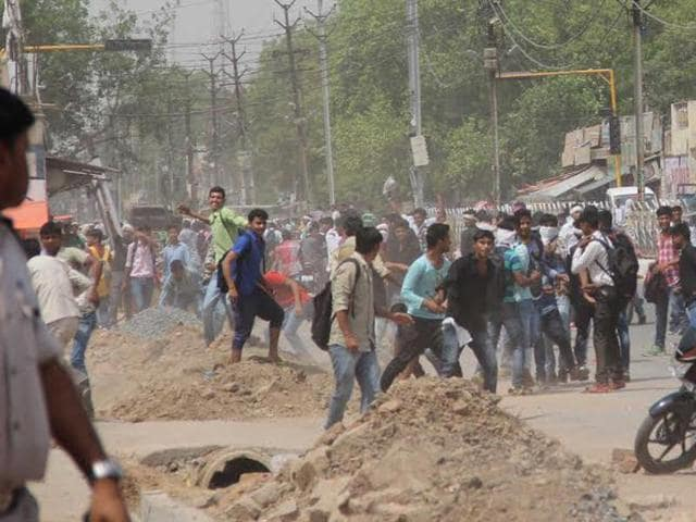 NSUI activists and policemen come face-to-face in Morena town on Tuesday.