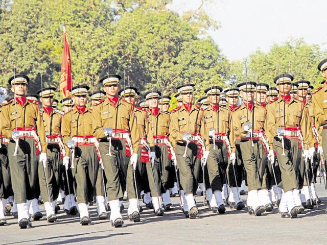 Gentlemen cadets marching in front of the Chetwood building (not seen) at IMA in Dehradun, India.