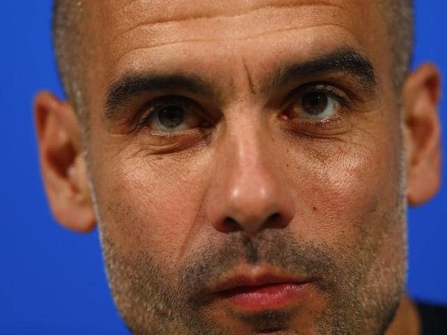 Guardiola was asked if he viewed his time in Munich as a failure despite winning five trophies so far, including two German league titles.(AP Photo/Matthias Schrader)