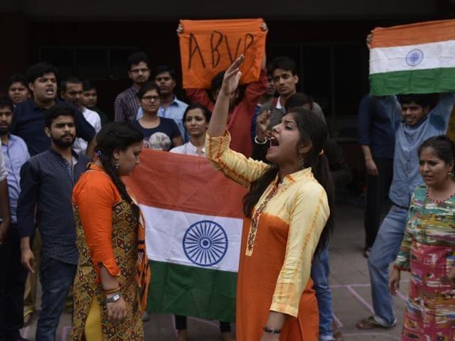 JNU student Umar Khalid addresses students at the varsity campus