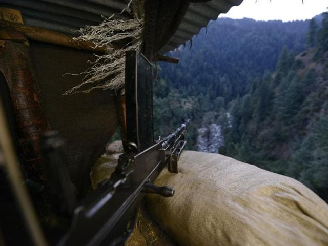 A view from the bunker of an Indian Army post on the LoC in Saujian sector near Poonch, India.