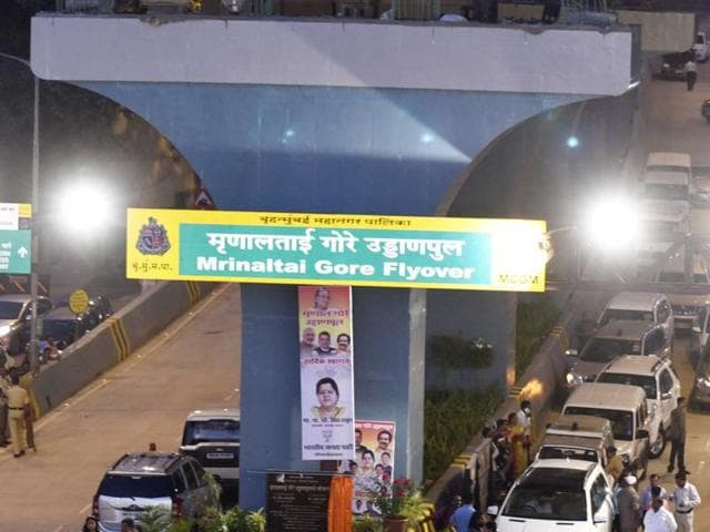 The Mrinal Gore flyover at Ram Mandir Road, Goregaon (West), was inaugurated on April 30. The flyover connects the east and west sides of Goregaon.(Vidya Subramanian/HT)