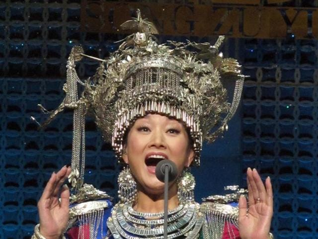 Chinese singer Song Zuying performs during the