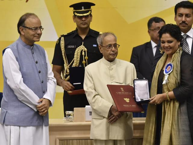 President Pranab Mukherjee presenting National Award for best actress to Tanvi Azmi during the 63rd National Film Awards Function at Vigyan Bhawan. Azmi won for her performance in Bajirao Mastani.