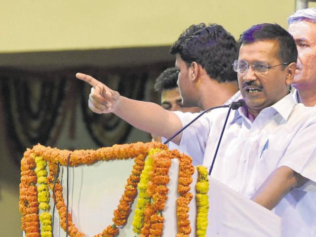 Chief minister Arvind Kejriwal addresses the volunteers during the event on Wednesday.