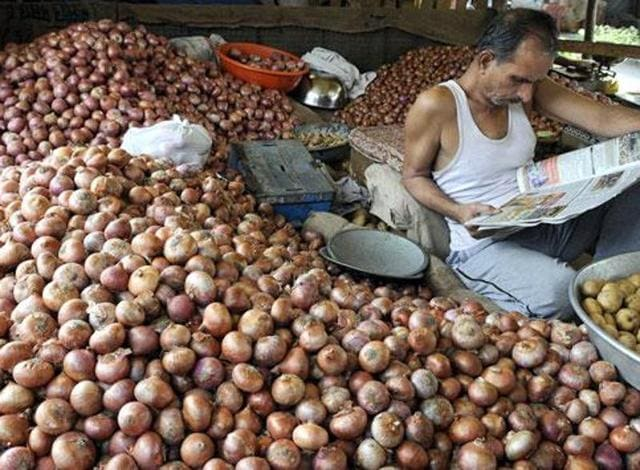 """""""Today, farmers are selling onion for Rs 2 per kg. There should be solution to the problem and it will be solved only when the government enters the market, buy onion and save farmers,"""" BJP MPs in Lok Sabha. (Shankar Mourya/HT)"""