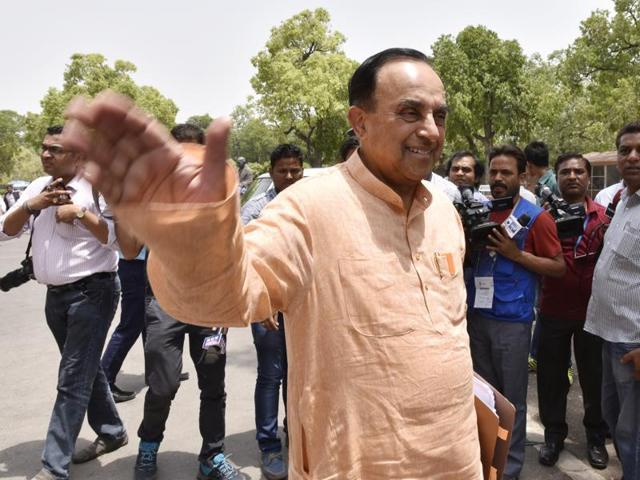 BJP Leader Subramanian Swamy at Parliament House.