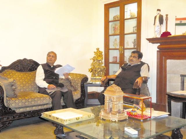 Gurgaon MP Rao Inderjit Singh (centre) in conversation with Union minister Nitin Gadkari (right) on Wednesday