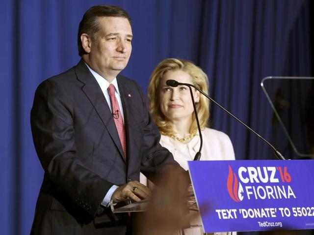 Ted Cruz announces that he is dropping out of the 2016 race for the Republican presidential nomination as his wife Heidi looks on at his Indiana primary night rally in Indianapolis, Indiana.