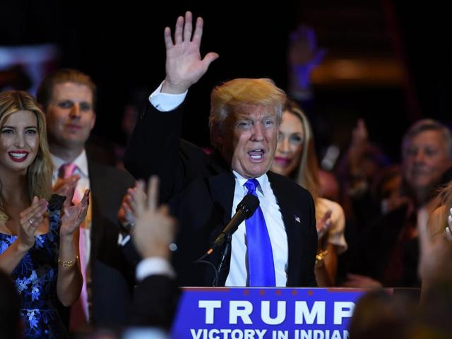 US Republican presidential candidate Donald Trump waves after speaking in New York following the primary in Indiana.
