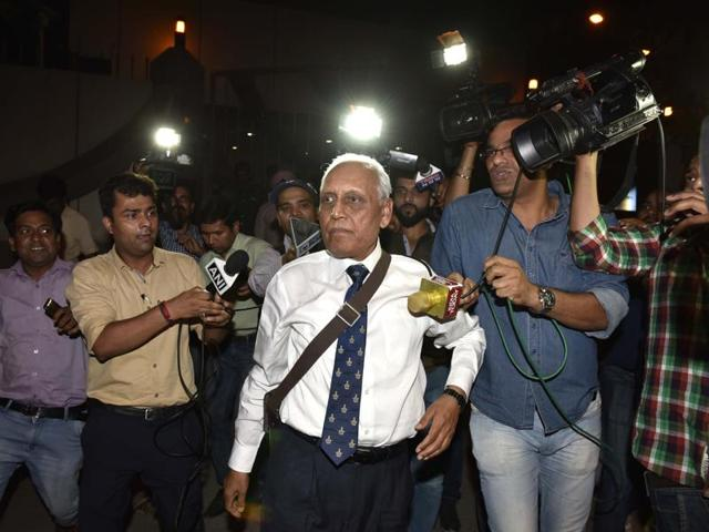 Former Air Chief Marshal S.P. Tyagi  leaves the CBI headquarters on Monday. (Photo by Arvind Yadav/ Hindustan Times)