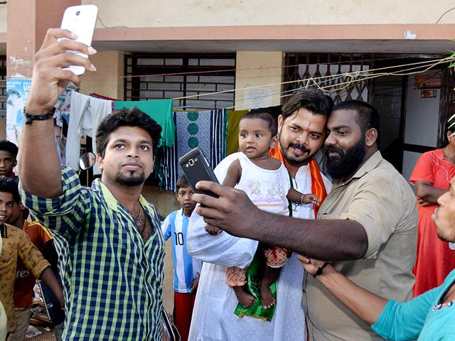 On the campaign trail, Sreesanth is often faced with young fans seeking selfies with him.