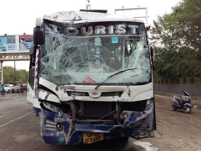 An auto was crushed between two buses in an accident in sector 44 in Noida on Thursday.