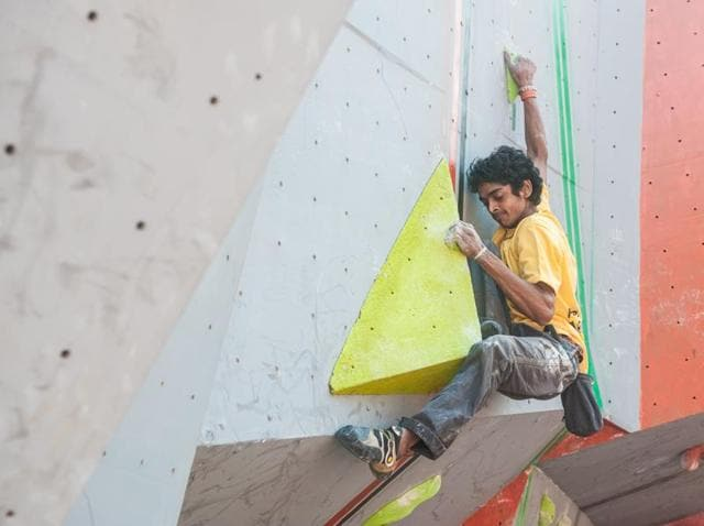 A photo from a previous Bouldering World Cup series