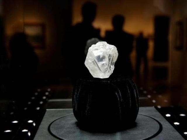 The 1109 carat 'Lesedi La Rona' diamond is displayed in a case at Sotheby's in the Manhattan borough of New York, U.S., May 4, 2016.
