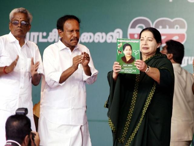 Tamil Nadu chief minister and AIADMK supremo J Jayalalithaa releases the party's election manifesto in Perundurai on Thursday.