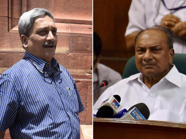 Defence minister Manohar Parrikar and Congress MP AK antony locked horns in the Rajya Sabha over the VVIP chopper scam. (PTI4_27_2016_000191A)