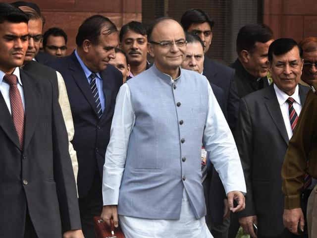 Finance Minister Arun Jaitley leaving from finance ministry to present the Budget. Though the Budget spells out an ambitious disinvestment target, there has been very little interest in PSU stocks.