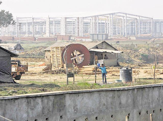 Construction at the Tata Nano project side at Singur.