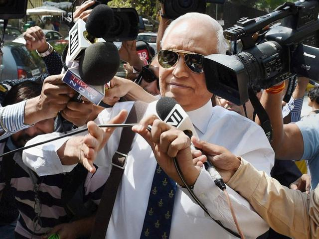 Former Air Chief Marshal S.P. Tyagi departing from the CBI headquarters on Monday. (Photo by Arvind Yadav/ Hindustan Times)