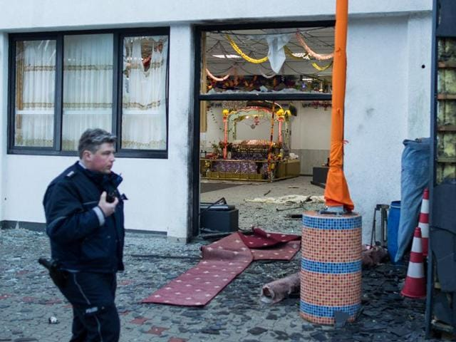 Three people were wounded in the blast at Sikh temple in Essen, western German on April 16.