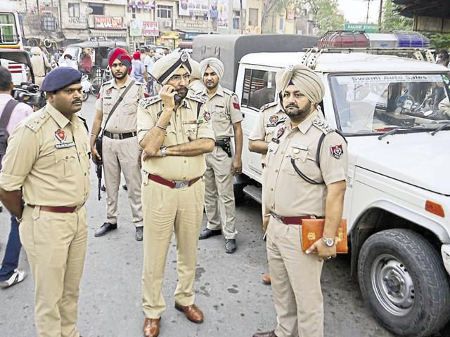 Police at the crime spot in Amritsar on Wednesday.
