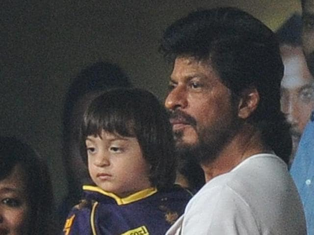 Actor Shah Rukh Khan and his son AbRam Khan during an IPL match between Kolkata Knight Riders and Kings XI Punjab at Eden Gardens in Kolkata.