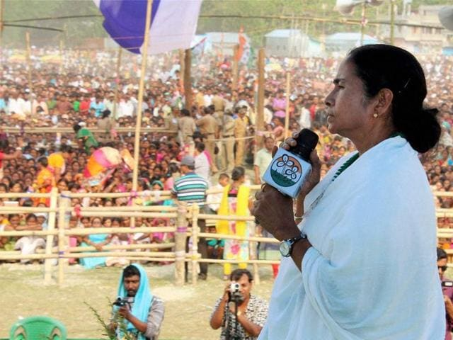 West Bengal chief minister and Trinamool Congress chief Mamata Banerjee during an election rally in support of party candidates in Coochbehar district of West Bengal on Tuesday.