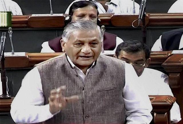 Union Minister VK Singh speaks in the Lok Sabha in New Delhi on Wednesday.