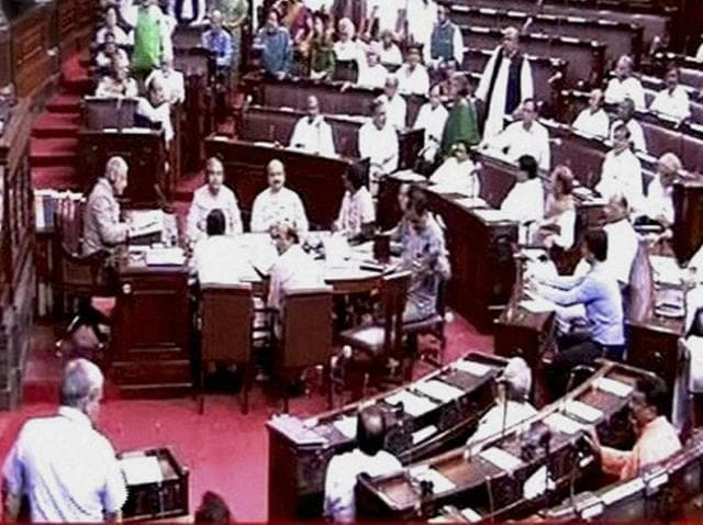 A view of the Rajya Sabha in New Delhi.