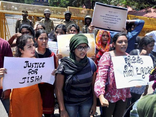 Students in Kochi hold a protest march demanding justice in the Jisha rape and murder case, in May.