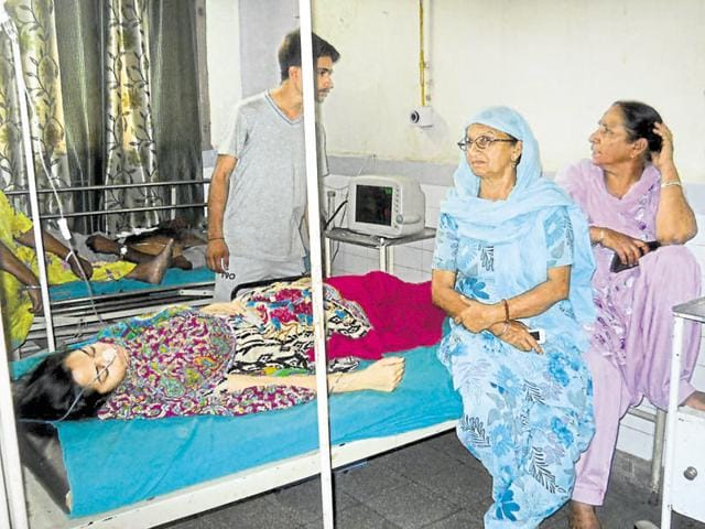 Simranjit Kaur under treatment at civil hospital Fatehgarh Sahib