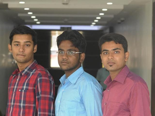 Kritish Mukherjee, Ritabhash Bagchi and Rahul Roy (left to right), students of Methodist School, Dankuni at HT Office in Kolkata, a day before the declaration of ICSE and ISC results.